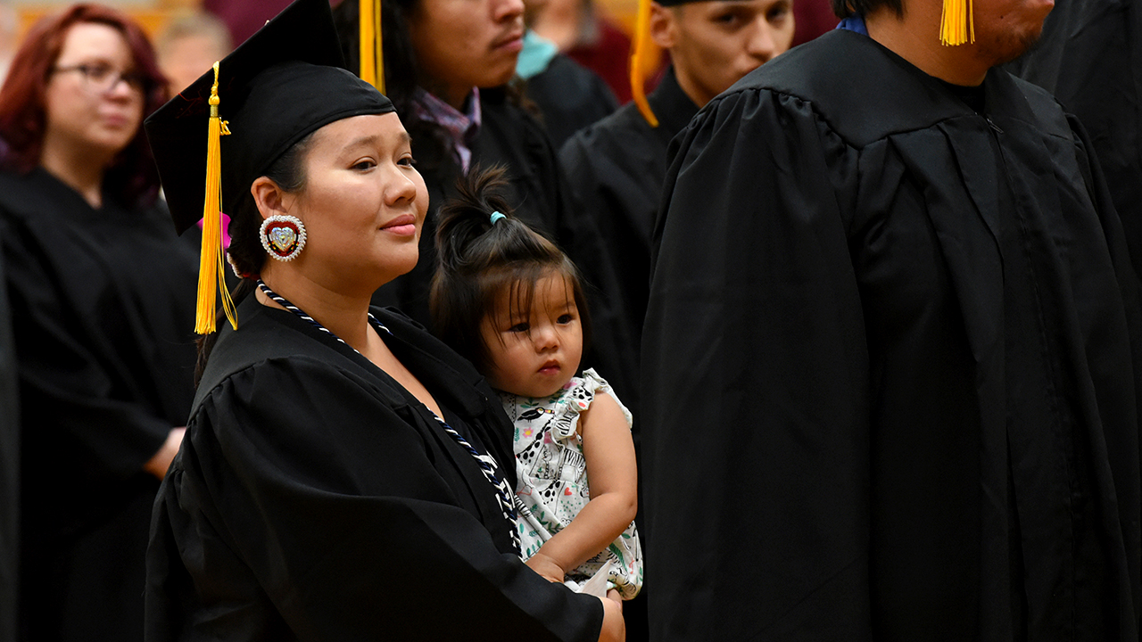 Mother and baby daughter at Graduation