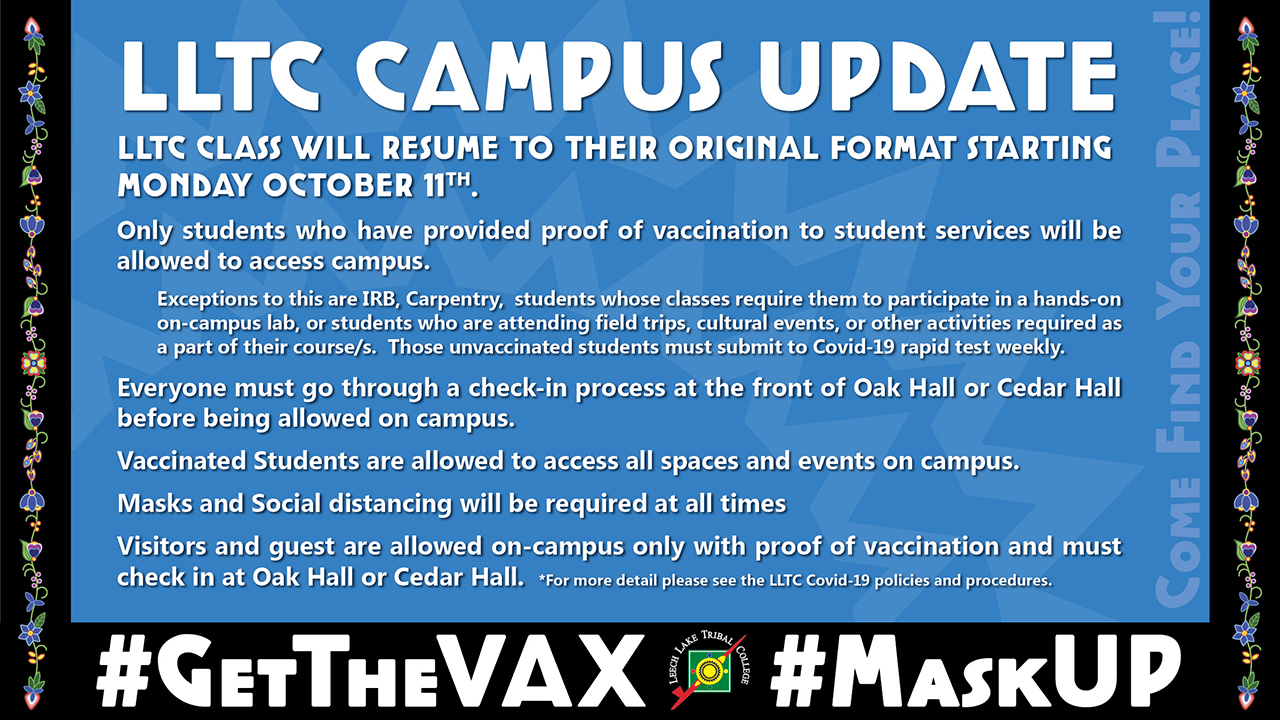 Procedure to return to campus with the Vax
